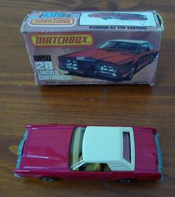 Matchbox Superfast Made in England by Lesney,Lincoln Continental,No 28,box,1979