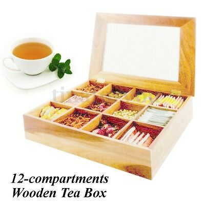 Tea Box Organizer Pinewood Storage Box Holder 12 Sections Acrylic Display Chest