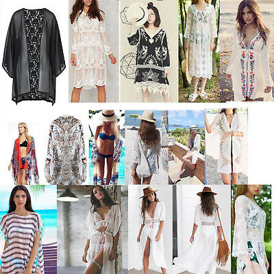 Sexy Women Lace Crochet Bikini Cover Up Swimwear Bathing Suit Summer Beach Dress