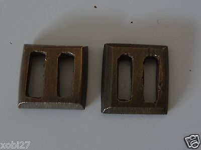 Antique Mongolian Buddhist Cast Brass Pair Of Plain  Manuscript Wrapper Buckle