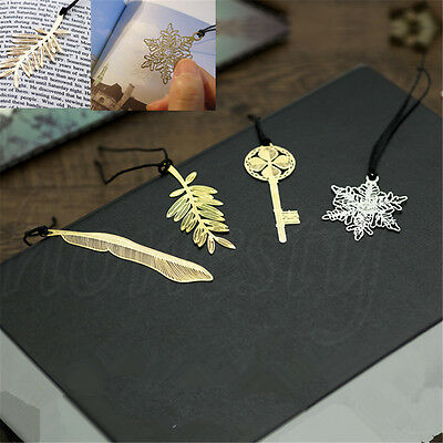 1pc Gold Plated Plant Feather Leaves Key Book Magazine Metal Bookmarks 4 Styles