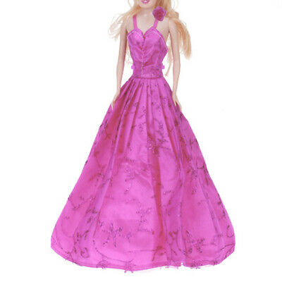 Princess Evening Party Gown Dress Clothes Outfit for Barbie Doll Pink flower