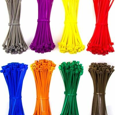 NYLON PLASTIC CABLE TIES ZIP TIE WRAPS COLOURED Thin Thick Small Large Long Wide