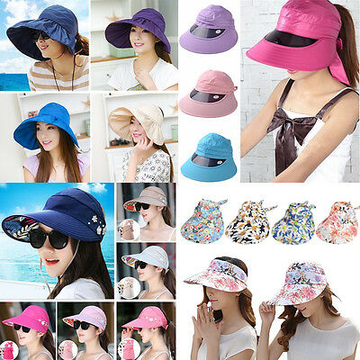 NEW Women Lady UV Protection Cap Wide Brim Visor Summer Sun Foldable Outdoor Hat
