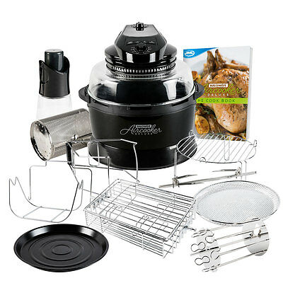 JML Black Halowave Oven Aircooker Deluxe Halogen Cooking Rotisserie Function 14P