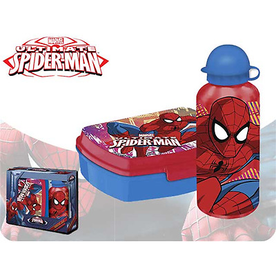 Borraccia Allumino 500Ml Portamerenda  Spiderman