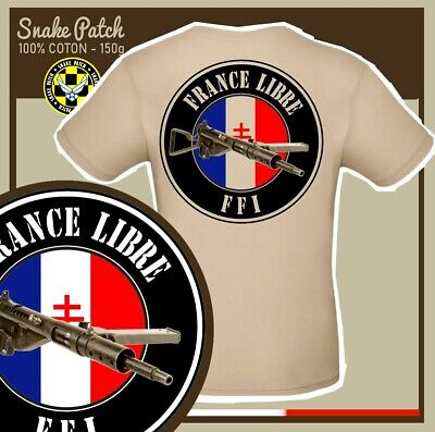 "SNAKE PATCH - T-shirt TAN "" FRANCE LIBRE - FFI "" sten RESISTANCE WW2 US D DAY"