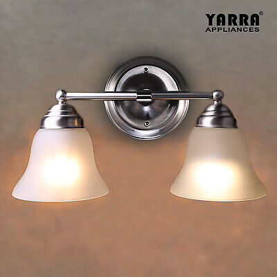 NEW 2LT Wall Sconce Light Glass Shade Bath Vanity Modern Home Decor-Satin Nickel