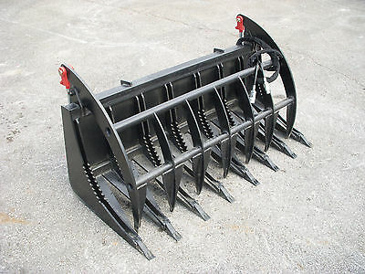 "Skid Steer Tractor Loader Attachment - 66"" Root Rake Clam Grapple - Ship $199"
