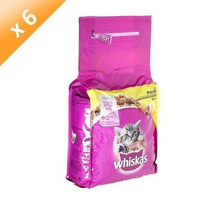 WHISKAS Croquettes au poulet - Pour chat junior - 1,75kg x6