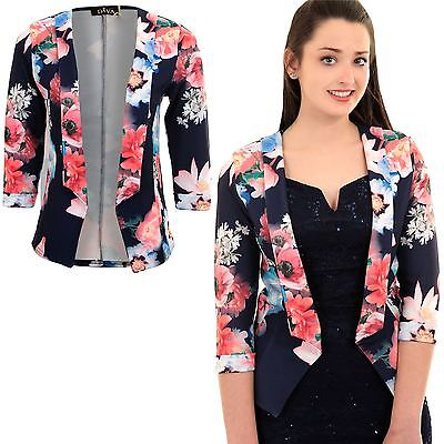 Ladies 3/4 Turn Up Sleeve Open Front Multi Floral Flower Crepe Jacket Blazer