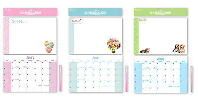 2018 Memo Organiser Calendar Family Cupcakes Puppies Bears Owls Bicycle Planner