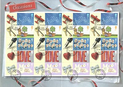 LS7 2002 Occasions Royal Mail Generic Smilers Sheet Cancelled First Day of Issue