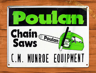 "TIN SIGN ""Poulan"" Chainsaw Vintage Garage Rustic Wall Decor Man Cave"