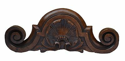 Small French Antique Hand Carved Walnut Wood Pediment - Shell Louis XV Style