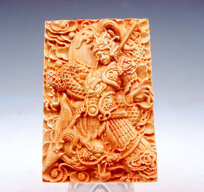 Wooden Detailed Carved Pendant Sculpture Ancient Warrior Dragon Floral #081217