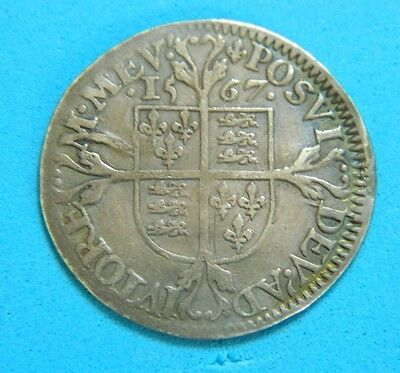 Milled Tudor Period 1567 Elizabeth 1St Silver Sixpence Rose Beside Bust. Mm Lis