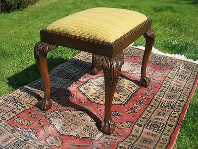 Antique Victorian Footstool with Ball and Claw Feet