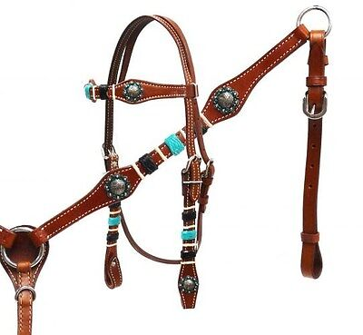 Showman Leather Bridle & Breast Collar Set w/ TEAL & BLACK Braided Rawhide! NEW!