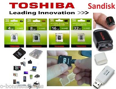MEMORY CARD 4 SDHC SDXC 8 16 32 64 Go GB TOSHIBA+ADAPTED SD+HOUSING AND