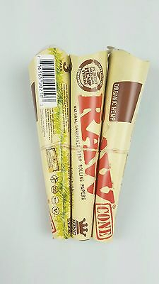 3 packs of 3 Authentic RAW Organic Unrefined Hemp Pre-Rolled Cones King Size