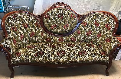 Victorian KIMBALL Rose Carved ( Rosewood )  2 Piece -SOFA and Balloon High Chair