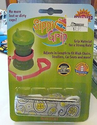 Booginhead Paisley Gray & Yellow Sippi Grip Cup Toy for Baby or Toddler New