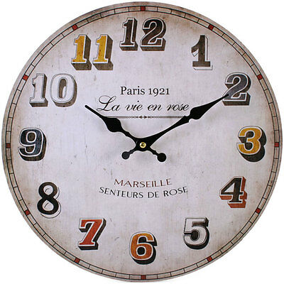Vintage French Style Shabby Chic Paris 1921 Wall Clock - BRAND NEW