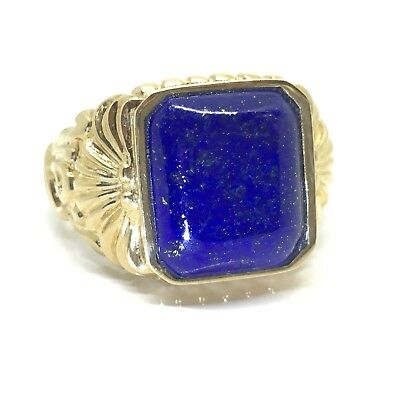 Incredible Lapis Lazuli Gents Fancy Hallmarked 9ct Gold Ring