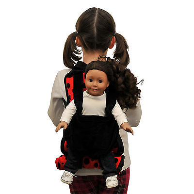"""Child Lady Bug Backpack+18 """" Inch American Girl Doll Carrier & Doll Sleeping Bag"""