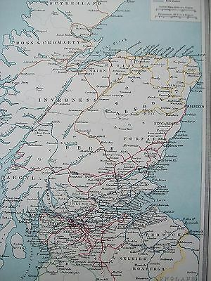1908 Scotland North & Central Railway Systems Trains Antique Harmsworth Map