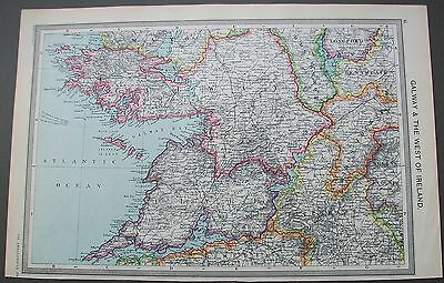 1908 Harmsworth Map Galway & The West Of Ireland Limerick Tipperary Roscommon