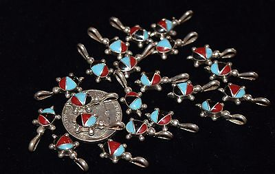 Older Superb Inlaid Turtles/sleeping Beauty Turquoise Coral And Jet/sterling/fs