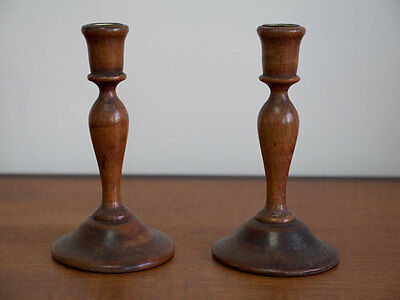 Pair of Small Edwardian Wooden Treen Candlesticks Hand Turned with Brass Inserts