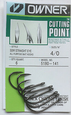 Owner SSW Straight Eye Cutting Point Hooks/_ Sizes 6-5//0