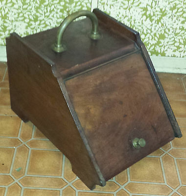 Vintage Antique Wood Victorian Coal Scuttle With Metal Liner And Scoop Fireplace