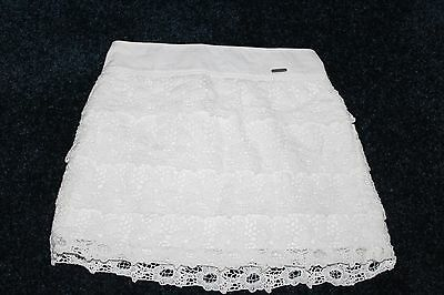 Abercrombie Kids Girls White Tiered Lace Lined Skirt, Size S, 8 EUC