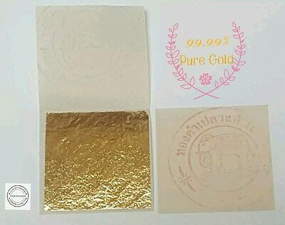 PURE 24K GOLD LEAF SHEET BOOK OF 20, FOOD GRADE EDIBLE,DECORATING,ART 3.5x3.5cm.