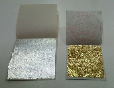 3 Gold leaf + 3 Silver leaf 99.99% Pure 24K Food grade , Edible , DECORATING ☆☆☆