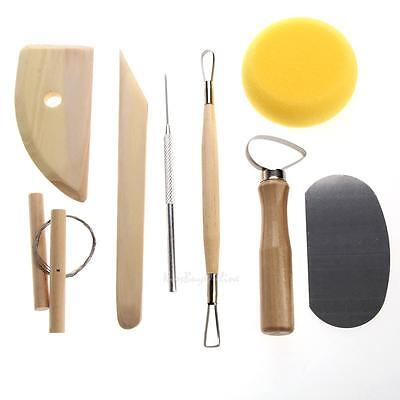 8pcs Pottery Tool Set Clay Ceramics Shaper Molding Needle Cutter Loop Ribbon Kit