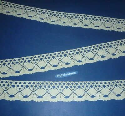 2 metres  of  Cream  Pure  Cotton  Cluny  Lace      35  mm Wide