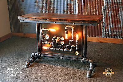 Steampunk Lamp Industrial Machine Age Steam Gauge Table Sofa Side Console Stand