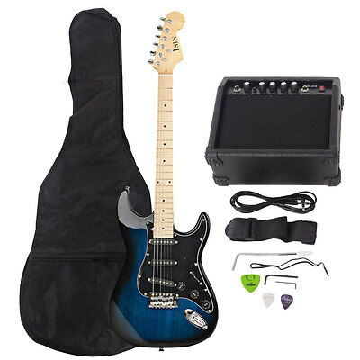 New 22 Frets ST Burning Fire Electric Guitar Bark Blue with Bag & 15 AMP