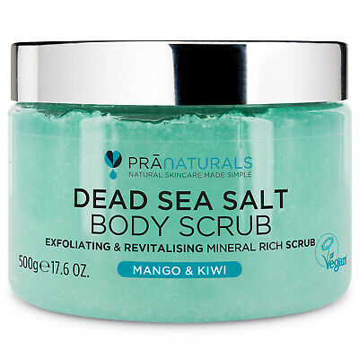 PraNaturals Dead Sea Salt Bath Body Scrub Mango & Kiwi Organic Mineral-Rich 500G