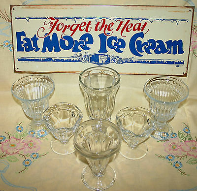 Vintage Style   Ice Cream Parlor Tin Sign & 6 Vintage Ice Cream Or Soda Glasses
