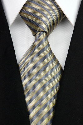 Brown And Gray Striped Classic 100% Silk Men's Necktie A1244