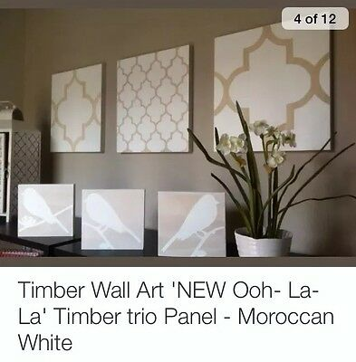 Timber Wall Art 'NEW Ooh- La- La' Timber trio Panel - Moroccan White