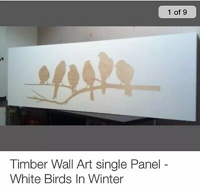 Timber Wall Art single Panel - White Birds In Winter