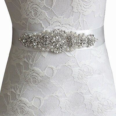 Silver Ivory White Pearl Bridal Belt Sash Vintage Crystal Wedding Bead Prom 1920