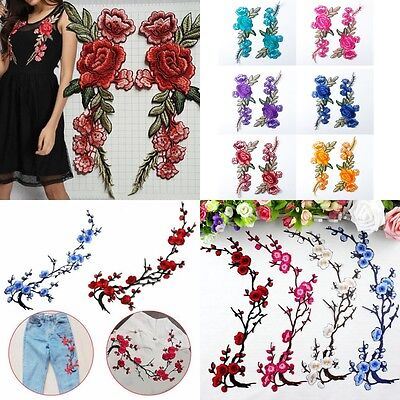 2pcs Embroidered Flower Applique Iron On Sew On Patch Clothing Peony DIY